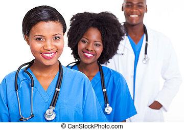gruppe, i, afrikansk, medicinsk, arbejdere