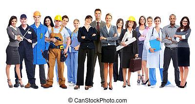 gruppe, i, arbejdere, folk.