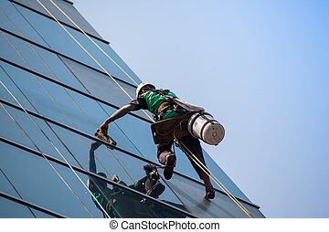 gruppe, i, arbejdere, rensning, vinduer, tjeneste, på, høj...