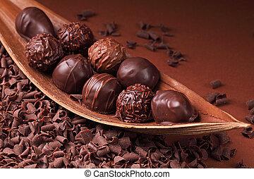 gruppe, i, chokolade