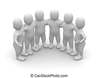 gruppe, i, friends., 3, rendered, illustration.