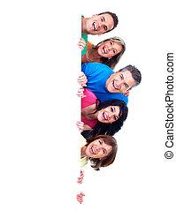 gruppe, i, glade, folk, hos, banner.