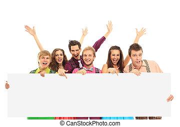 gruppe, i, glade, folk, hos, banner