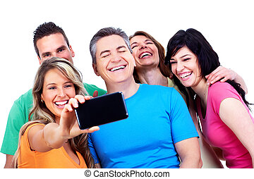 gruppe, i, glade, folk, hos, en, smartphone.