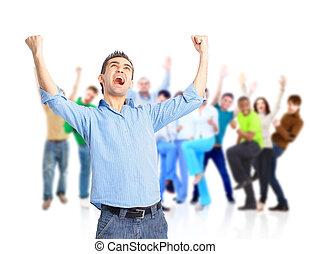 gruppe, i, glade, folk, hugging, og, cheering