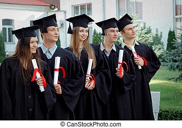gruppe, i, graduates, hos, eksamensbeviser, ind, deres, hænder