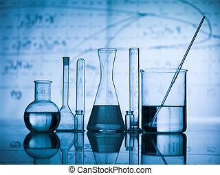 gruppe, i, lommeflaske, på, en, laboratorium., tabel