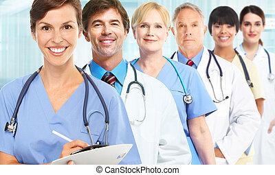 gruppe, i, medicinsk, doktorer