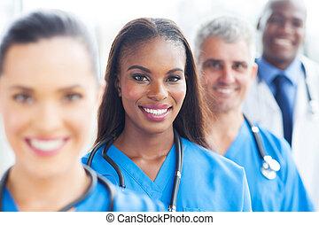 gruppe, i, medicinsk hold, closeup