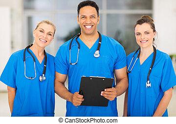 gruppe, i, medicinsk, kendere