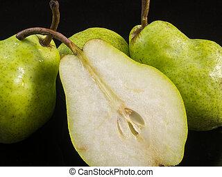 gruppe, i, pears, og, halve, pear