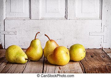 gruppe, i, pears, på, træ