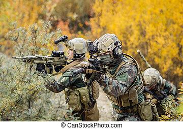 gruppe, i, rangers, ind, baghold