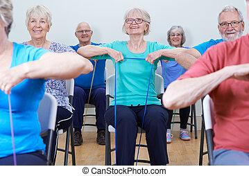 gruppe, i, seniors, bruge, modstand, bands, ind, fitness...