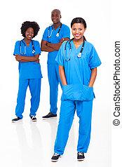 gruppe, i, sort, medicinsk, arbejdere