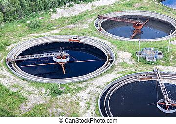 gruppe, i, wastewater, filtrerer, tanke, ind, behandling plant
