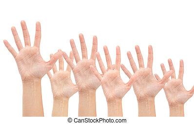 gruppe, isoleret, luft, baggrund, hænder, hvid