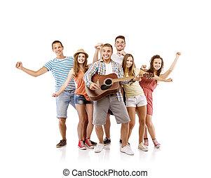 gruppe jungen leuten, mit, gitarre