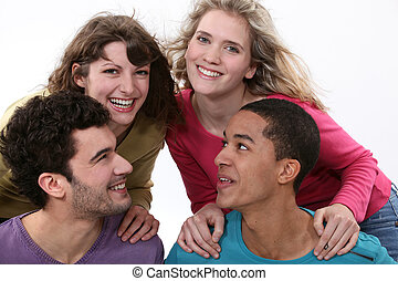 Gruppe, junger, Leute