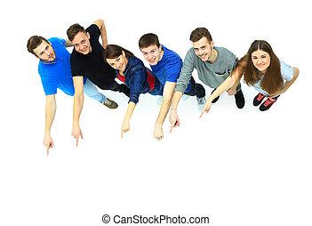 gruppe, junger, zeigen, leute