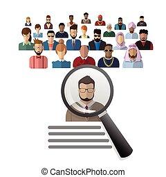 gruppe, kandidat, folk branche, rekrutering, zoom, glas, person, picking, forstørrer