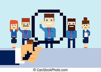 gruppe, kandidat, folk branche, rekrutering, zoom, hånd, glas, person, picking, forstørrer