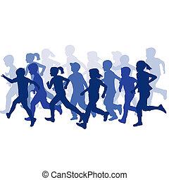 gruppe kinder, silhouetten, rennender