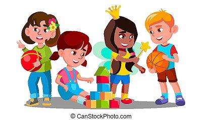 gruppe kinder, spielende , mit, bunte, spielzeuge, boden, vector., freigestellt, abbildung