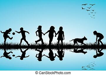 gruppe kinder, und, a, hund, spielende , draußen