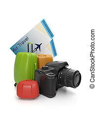 gruppe, koffer, reise, abbildung, fotoapperat, leisure., 3d