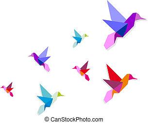 gruppe, kolibris, verschieden, origami