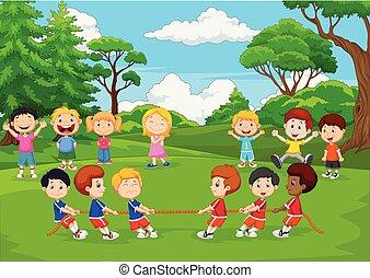gruppe, kriegsbilder, park, spielende kinder, karikatur, zerren