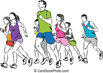 gruppe, läufer, abbildung