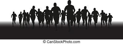 gruppe, läufer