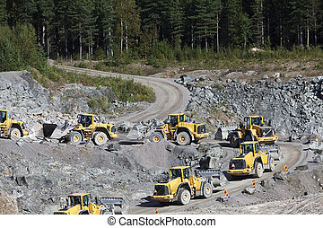 gruppe, lastbiler