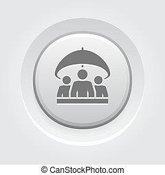 gruppe, lebensversicherung, icon., grau, taste, design.