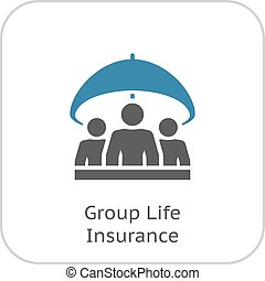 gruppe, lebensversicherung, icon., wohnung, design.