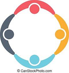 gruppe, logo., besitz, leute