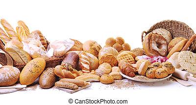 gruppe, mad, frisk brød