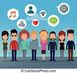 gruppe, netværk, folk, medier, iconerne, sociale