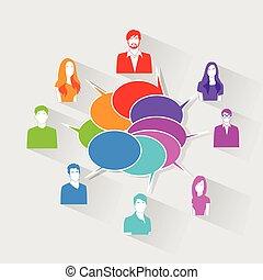 gruppe, netværk, iconerne, kommunikation, folk, snakke,...