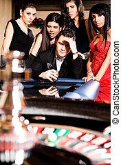 gruppe, null, roulett, kasino