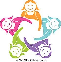 gruppe, piger, vektor, teamwork, logo, konstruktion, five.