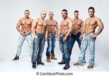 gruppe, seks, unge, muskuløse, nøgne, poser, våd, sexet, pæn, mand