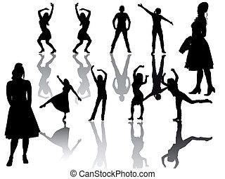 gruppe, -, -silhouette, frauen
