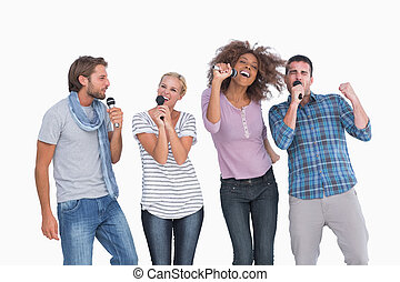 gruppe, singende, spaß, karaoke