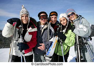 gruppe, skier, friends