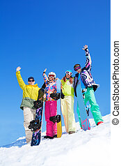 gruppe, snowboard, friends