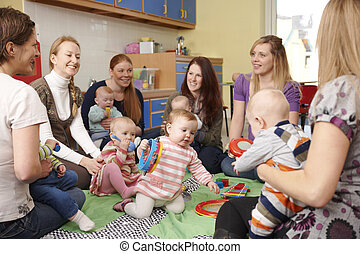 gruppe, spielgruppe, babys, mütter