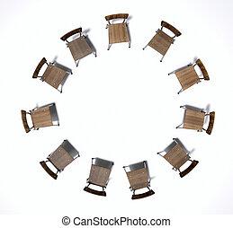 gruppe, stühle, therapie